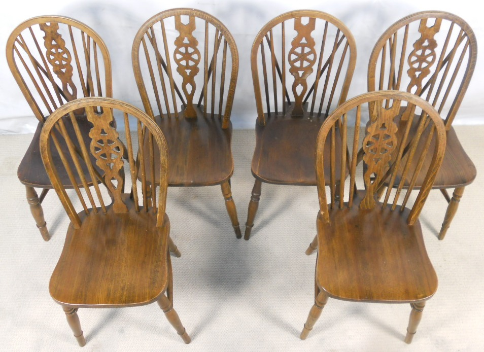 Windsor Kitchen Chairs #22: Six Beech And Elm Windsor Wheelback Kitchen Chairs - SOLD ...